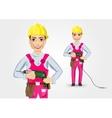 electrician or mechanic holding electric drill vector image
