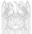 Lovely couple of exotic bird sitting on heart in vector image
