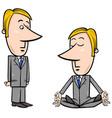 meditating businessman cartoon vector image