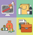 Set of color line icons on the theme of business vector image
