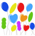 set of flat colored isolated balloons on the vector image