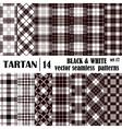 Set tartan seamless pattern in black and white vector image