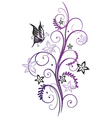 Flowers with butterfly vector image vector image