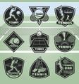 black vintage tennis labels set vector image