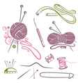 Needlework knitting wool crochet vector image