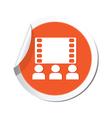cinema icon orange sticker vector image