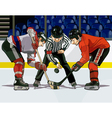 cartoon hockey throwing the puck vector image