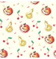 cartoon fruits pattern vector image
