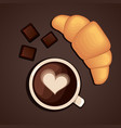 Coffee cup with chocolate and croissant vector image