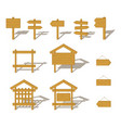 Wood billboards and signs set vector image