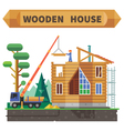 Wooden house in the forest vector image