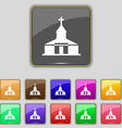 Church Icon sign Set with eleven colored buttons vector image