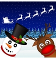 Snowman and Reindeer looking in the woods vector image