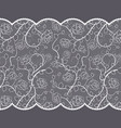 lace pattern with roses on gray background vector image