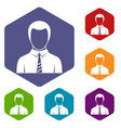 businessman icons set hexagon vector image vector image