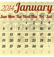 Calendar for January in the African style vector image