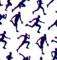 Runners realistic silhouettes seamless background vector image