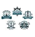 Nautival various heraldic designs vector image