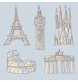 Travel landmarks doodle vector image