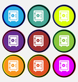 safe icon sign Nine multi colored round buttons vector image
