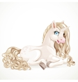 Beautiful magic unicorn with a golden mane lying vector image
