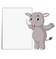 cute rhino cartoon with blank sign vector image