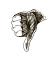 hand drawn dislike vector image