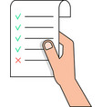 hand holding to do list from thin line vector image