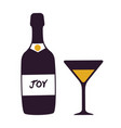joy bottle and glass icon vector image