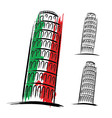 Pisa tower design on white background vector image