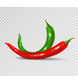 set of red and green hot chili pepper vector image