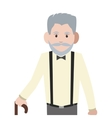 caucasian senior man with cane icon vector image