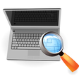 Realistic silver laptop and magnifying glass vector image vector image