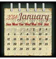 Calendar for January 2014 vector image vector image