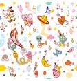 cartoon comic characters fun seamless pattern vector image