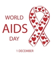 World AIDS day heart red ribbon vector image