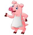 cartoon pig chef waving vector image