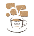 coffe cup and speaking bubbles vector image