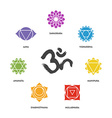 Colorful chakra symbol set and om calligraphy vector image