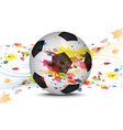soccer ball and ink splatter background design vector image vector image