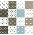 brown and blue seamless patterns with hearts vector image
