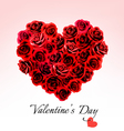 Valentines Day Gift Card Heart made of red roses vector image