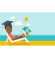 Man with laptop on the beach vector image