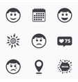Circle smile face icons Happy sad cry vector image