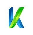 K letter leaves eco logo volume icon vector image