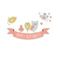 Birds On Happy Birthday Party Banner vector image