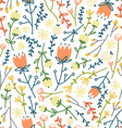 Field flowers doodle pattern 3 vector image