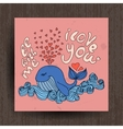 Greetings card with cute animals - whale and vector image