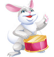 rabbit hare goes with a drum vector image