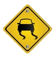 slippery road traffic sign icon vector image